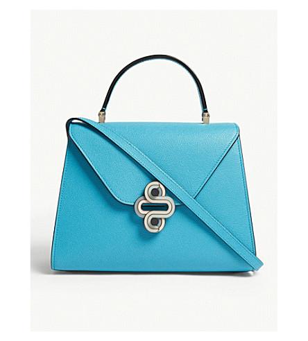VALEXTRA Iside Media grained leather cross-body bag (Aqua+marina