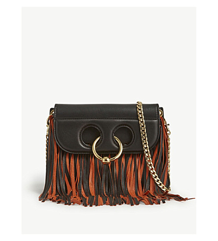 JW ANDERSON Mini Pierce Fringe leather cross-body bag (Black