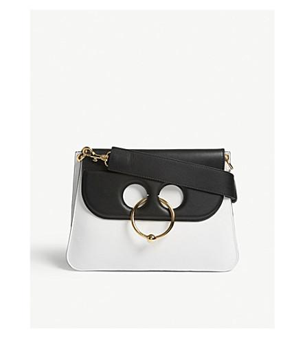 JW ANDERSON Pierce medium leather shoulder bag (White+black