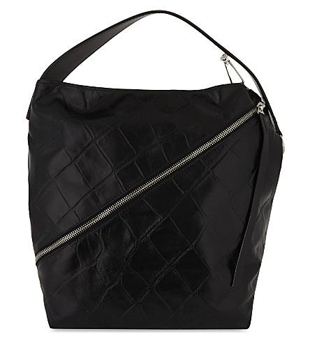 PROENZA SCHOULER Medium crocodile-embossed leather hobo (Black