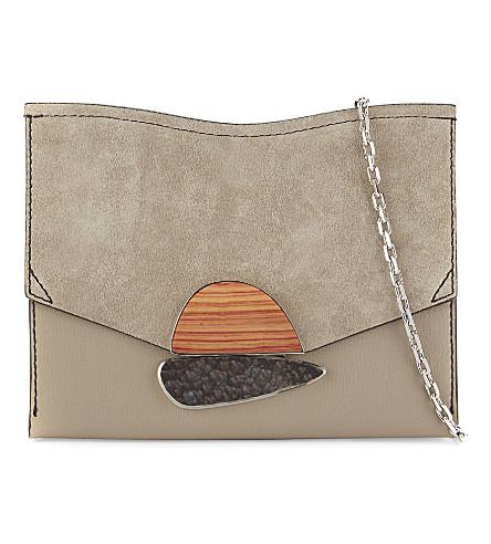PROENZA SCHOULER 卷链皮革手拿包 (轻 + 褐色