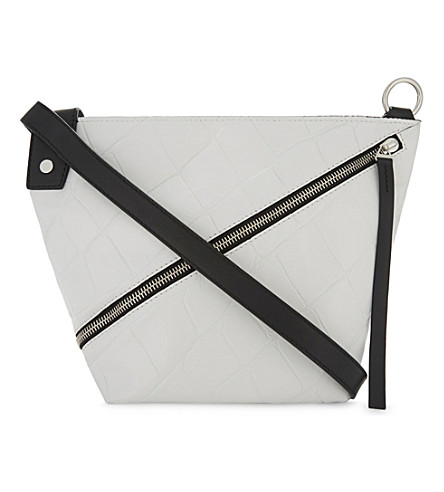 PROENZA SCHOULER Croc-embossed leather hobo bag (Optic+white