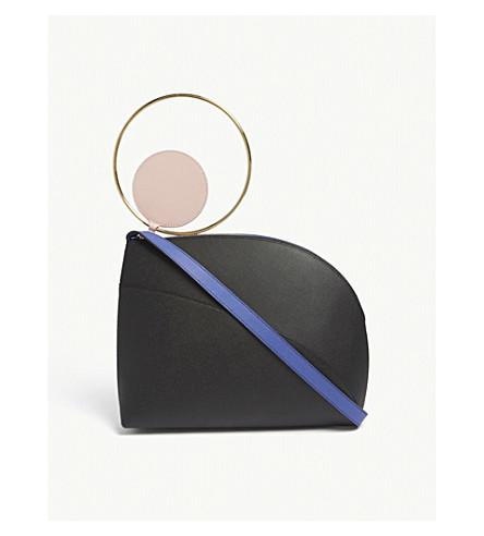 ROKSANDA Eartha medium pebbled leather shoulder bag (Black/blue