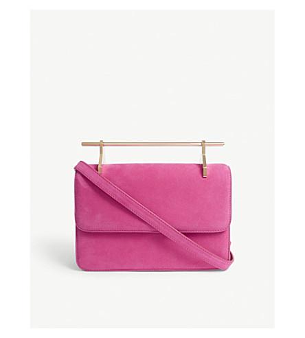 M2MALLETIER La Fleur du Mal suede shoulder bag (Hot+pink+gold