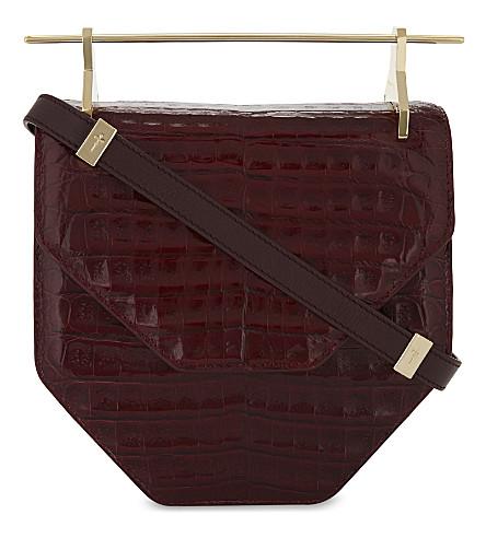 M2MALLETIER Amor Fati leather shoulder bag (Cherry+croc
