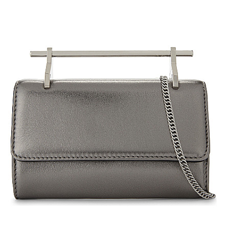 M2MALLETIER Mini Fabricca leather cross-body bag (Metallic+silver