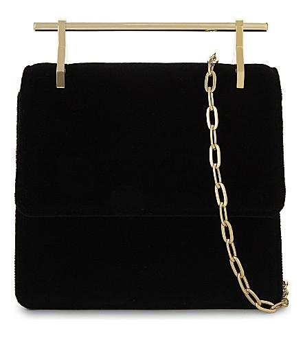 M2MALLETIER Collectionneuse 天鹅绒单肩包 (黑色