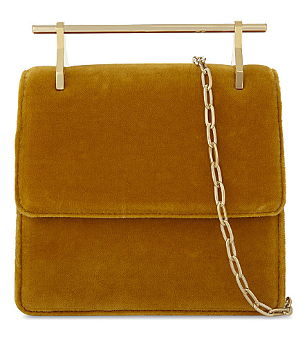 M2MALLETIER Collectionneuse velvet shoulder bag (Ochre