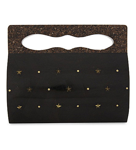 NATHALIE TRAD Juno Stars shell clutch bag (Black