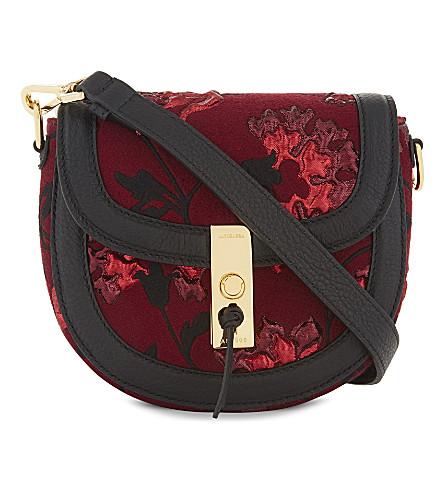 ALTUZARRA Ghianda small floral saddle bag (Garnet