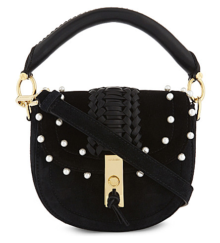 ALTUZARRA Ghianda mini suede saddle bag (Black