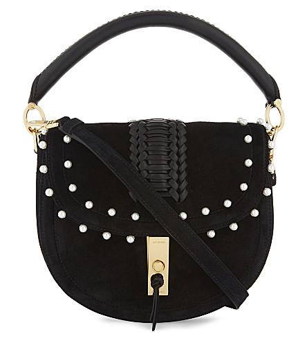 ALTUZARRA Ghianda mini suede saddle bag (Black