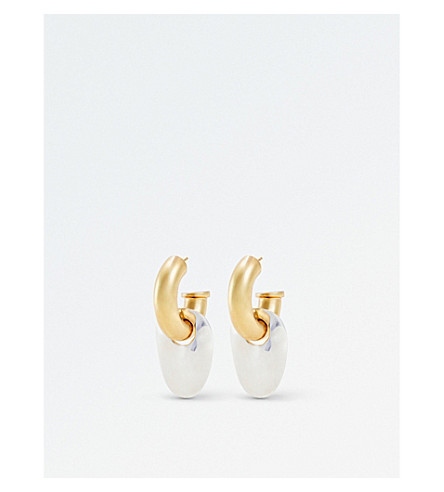 ELLERY Lucius gold and silver-plated stud earrings (Gold+white