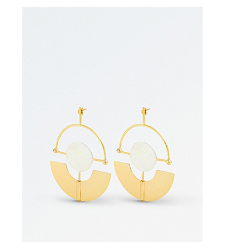 ELLERY Patagonia gold and silver-plated stud earrings (Gold+white