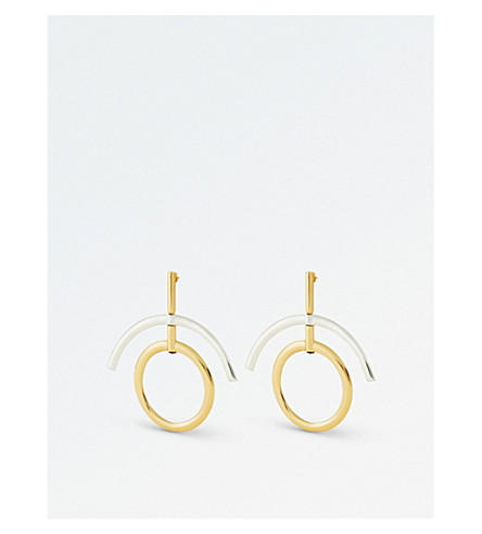 ELLERY Despina drop earrings (Gold+white