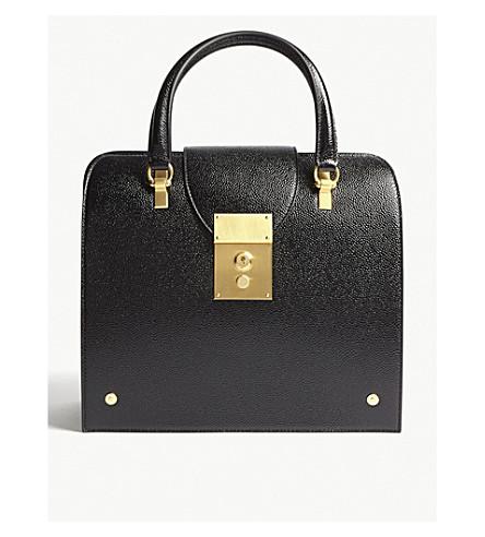 THOM BROWNE Mrs Thom Jr leather tote (Black