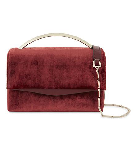 EDDIE BORGO Boyd Vanity velvet shoulder bag (Ruby+velvet