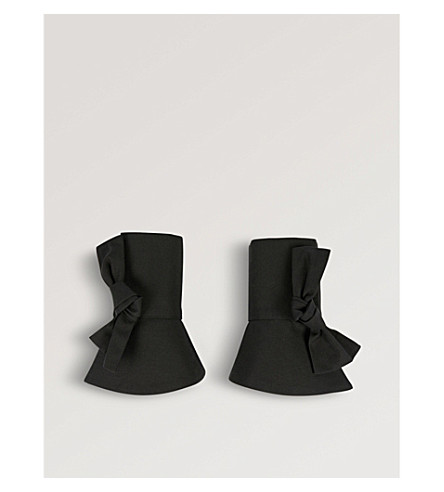 CATHERINE OSTI Colette cotton-poplin cuffs (Black