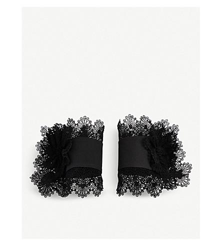 CATHERINE OSTI Elizabeth cotton-guipure cuffs (Black