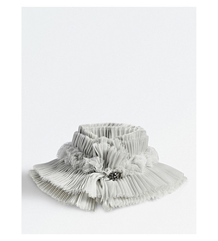 CATHERINE OSTI Faustine pleated silk-chiffon cuffs (Grey