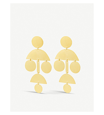 ANNIE COSTELLO BROWN Pompom long stud earrings (Gold