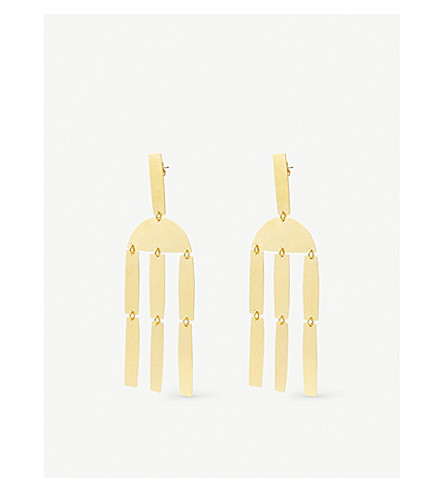 ANNIE COSTELLO BROWN Column chandelier stud earrings (Gold