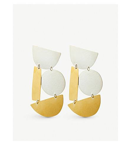 ANNIE COSTELLO BROWN Masha stud earrings (Gold+silver