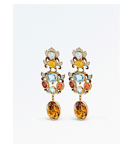 PERCOSSI PAPI黄玉和橙锆石滴耳环 (橙色