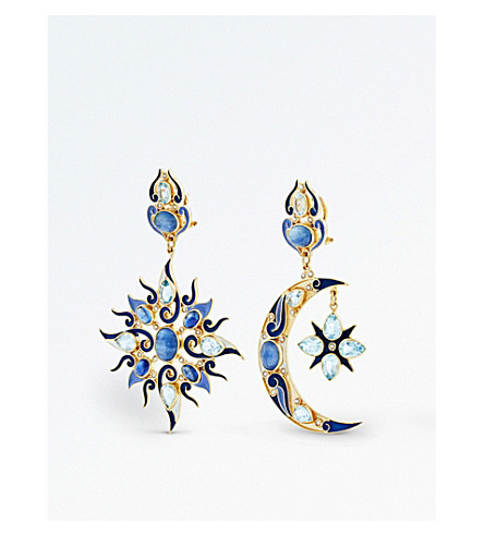 PERCOSSI PAPI Star and moon kyanite earrings (Blue