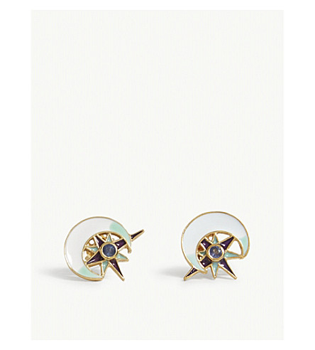 PERCOSSI PAPI MOON AND STAR SAPPHIRE EARRINGS