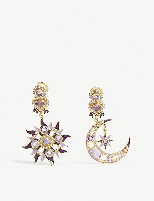 PERCOSSI PAPI Sun moon and star gemstone embellished drop earrings
