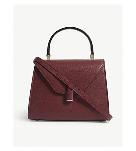 VALEXTRA Iside mini grained leather tote (Marasca oxblood