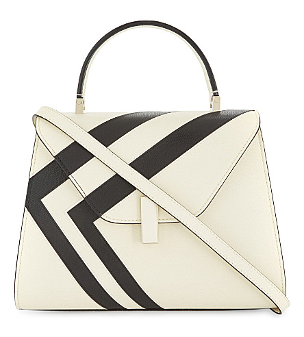 VALEXTRA Iside medium leather shoulder bag (White/black