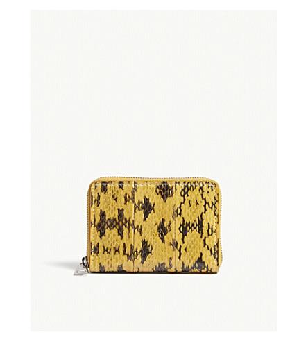 BYREDO Snakeskin leather zip-around purse (Dark+yellow+elafe