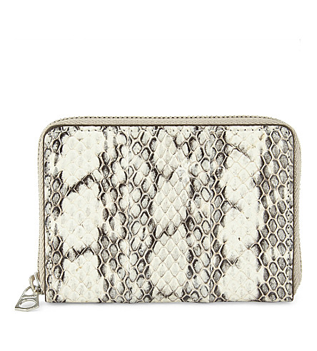 BYREDO Snakeskin embossed zip-around purse (Natural