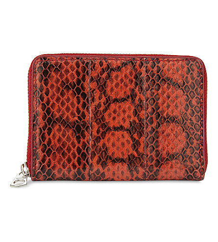 BYREDO Snakeskin embossed zip-around purse (Red