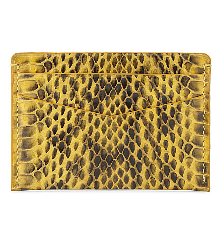 BYREDO Snakeskin embossed card holder (Yellow