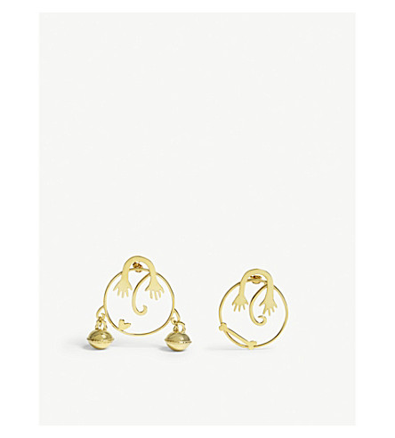 BECCA JEWELLERY Mr & Mrs Bell mismatched earrings (Gold
