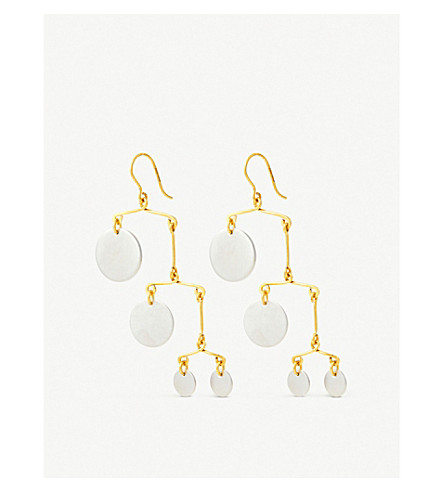 BECCA JEWELLERY Peggy 7 drop disk earrings (Gold plated silver