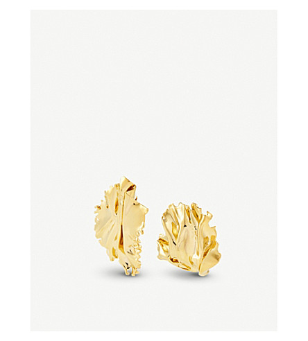 ANNELISE MICHELSON Algae sea leaf earrings (Gold