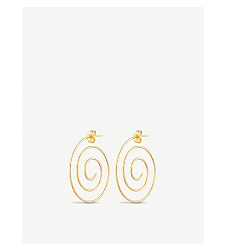 BEAUFILLE 10ct gold spiral stud earrings (10k yellow gold
