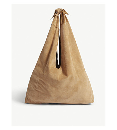 THE ROW Core suede shoulder bag (Beige+pld