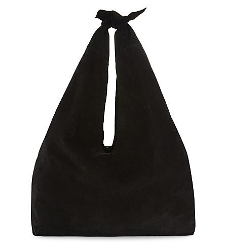 THE ROW Core suede shoulder bag (Black+pebbled