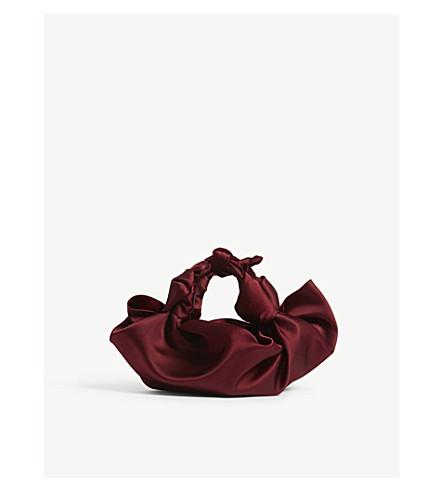 THE ROW Small Ascot satin bag (Dark+carmine