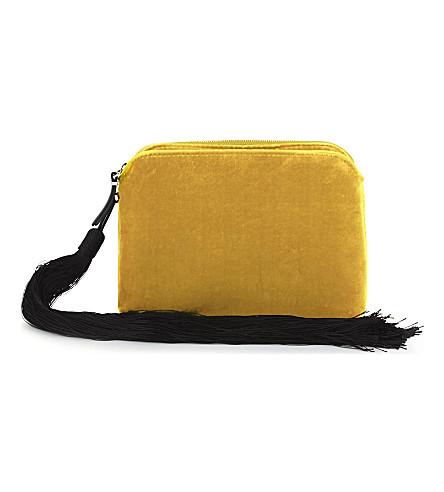 THE ROW Tassel velvet pouch (Gold+pebbled