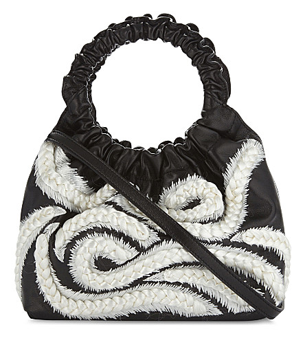 THE ROW Plaited leather cross-body bag (Black+ivory