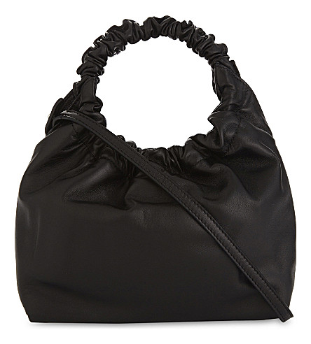 THE ROW Double Circle small leather tote bag (Black+pebbled