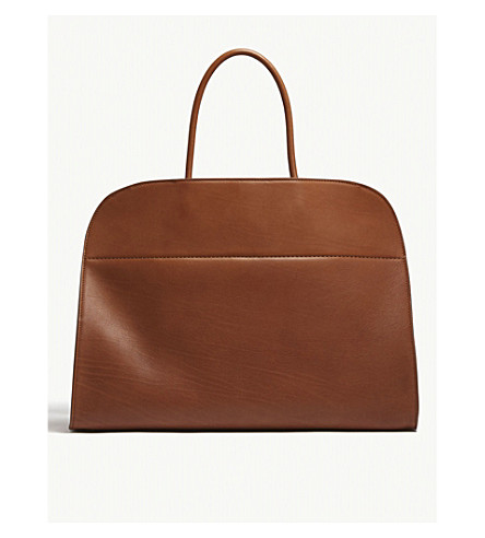 THE ROW Margaux 17 leather tote (Saddle+brown