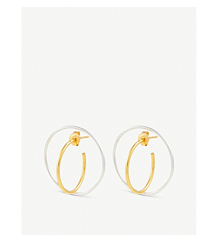 CHARLOTTE CHESNAIS Saturn medium earrings (Yellow+vermeil/silver
