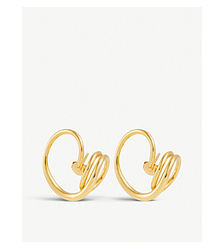 CHARLOTTE CHESNAIS Round Trip gold vermeil earrings (Yellow+vermeil